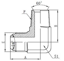 BSPT Muški adapter Priključci Crtanje