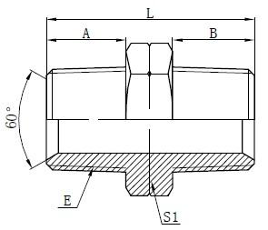 Hidraulični NPT muški adapteri Crtanje